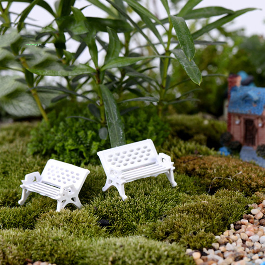 Big Sale 1Pcs Miniature White Chair Christmas Diy Plastics Fairy Garden Craft Decoration