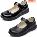 2017 Children Girls PU Leather Shoes For Kids Students Girls Dress Shoes Lovely Black Flat Dancing Shoes For Wide Foot 26-42