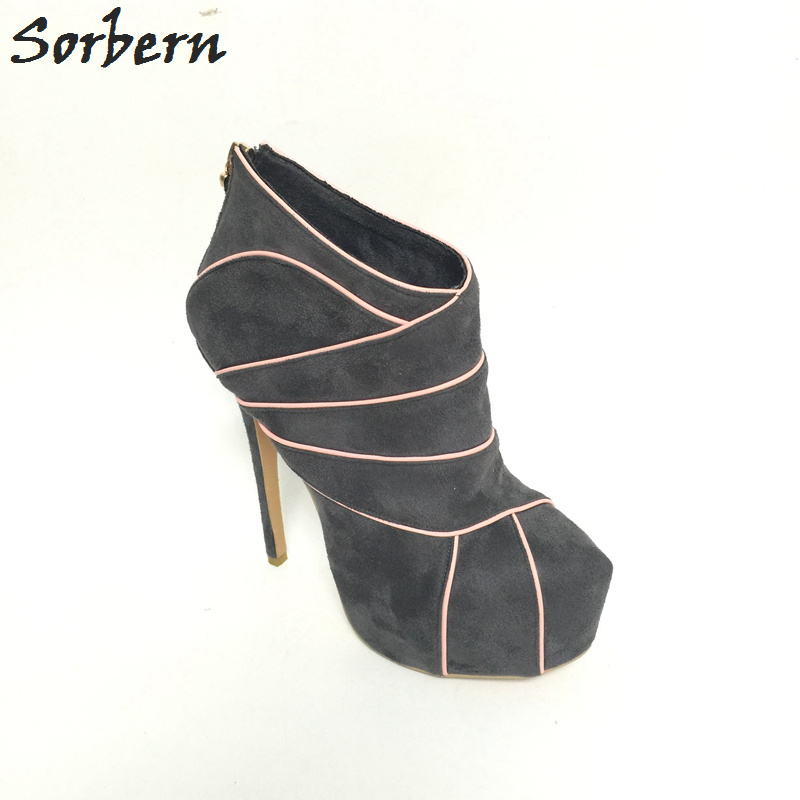 Sorbern Custom Grey High Heels Custom Colors Round Toe Winter Style Ankle Boots For Woman Platform Botas Mujer New 2018
