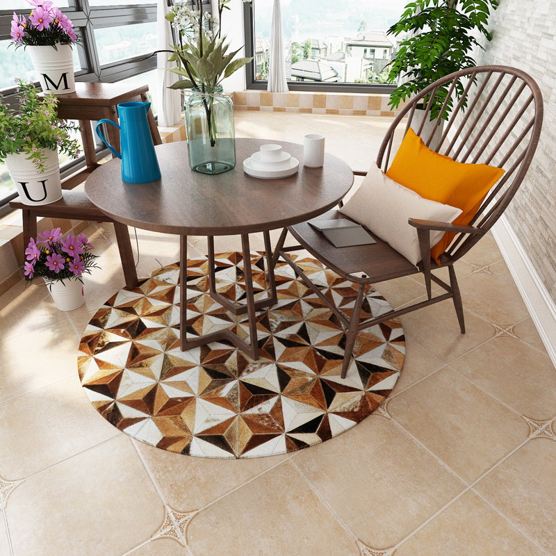 American style Round shaped natural cowhide seamed rug brown fur carpet for living room bedroom decoration mat in Rug from Home Garden