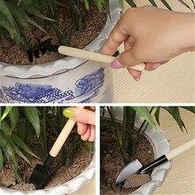 3pcs Mini Garden Tool Sets Mini Shovel Rake Spade Garden Bonsai Tools Set Wooden Handle Metal Head For Flowers Potted Plant
