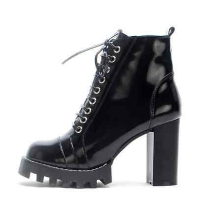 77f2431dc89 Women Solid Black Patent Leather Round Toe Ankle Boots Fashion Side Zipper  Ankle Crossed Tied High