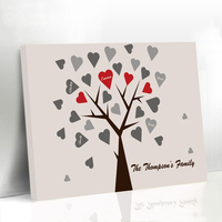Personalized Wedding Guestbook Heart Family Fingerprint Tree Wedding Present for Guest Framed Canvas Printing Wedding Decoration