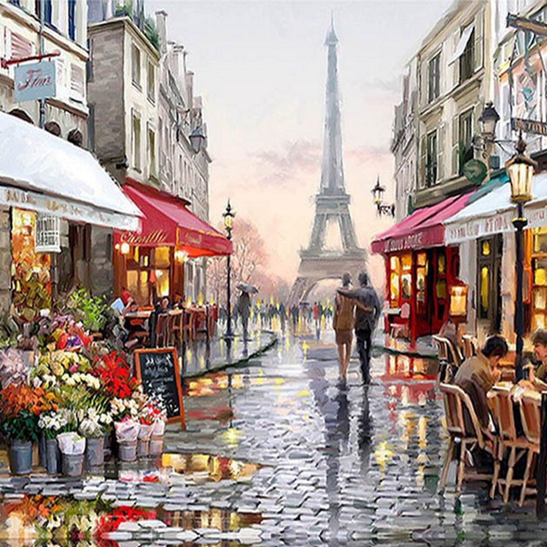Лидер продаж обрамленная картина живопись по номерам Аннотация улиц Парижа DIY картина маслом на холсте украшения дома 40*50 см