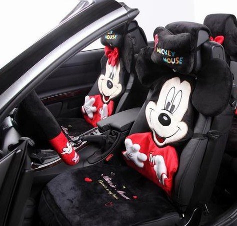 Mickey Mouse Car Seat Covers Cartoon Dimensional Embroidery Plush Cover Couples Christmas Style