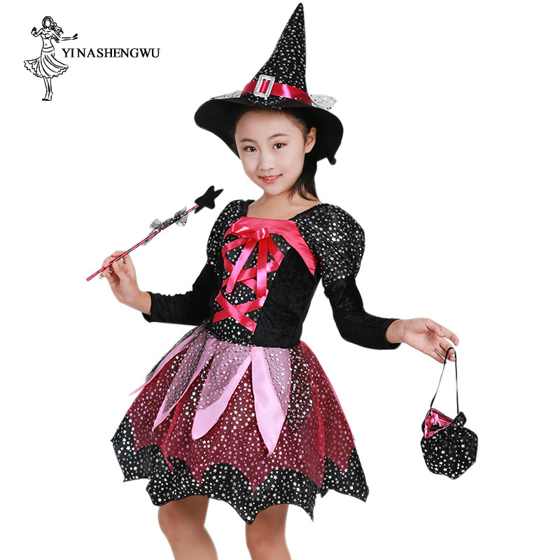 Halloween Cosplay Costume Magic Witch Child Witch Elf Performance Costume Masquerade Party Girl Dress Skirt Costume