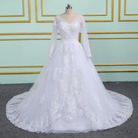 long sleeve muslim lace wedding dress high quality bride simple bridal gown real photo wedding dress vestido de noiva