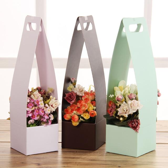 Hot Sale Basket Flowers Boxes Paper Gift Box Carton Portable Florist