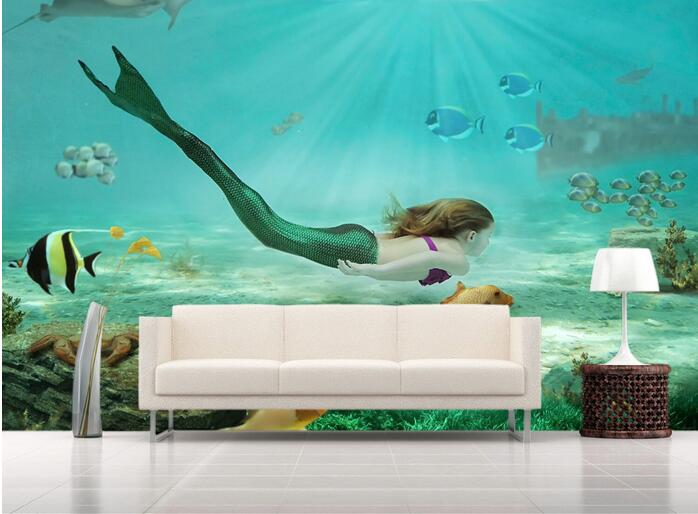 3d wallpaper custom mural non woven 3d room wallpaper 3d undersea world mermaid paintings murals. Black Bedroom Furniture Sets. Home Design Ideas