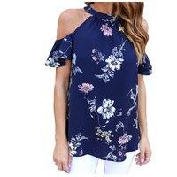 2017 Summer Flower Casual Ruffles Short Sleeve Floral Print Blouse Blue Color Halter Lady Open Shoulder