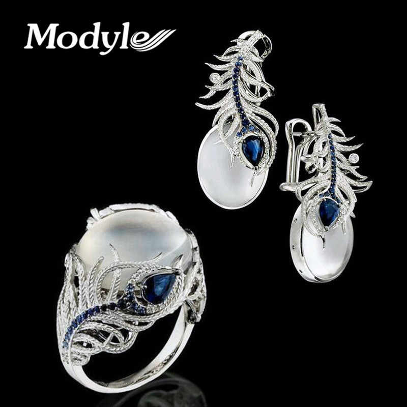 Modyle Elegant Wedding Jewelry Sets Vintage White Moonstone Silver Color Feather Rings / Earrings for Women Gift Brincos Anillos