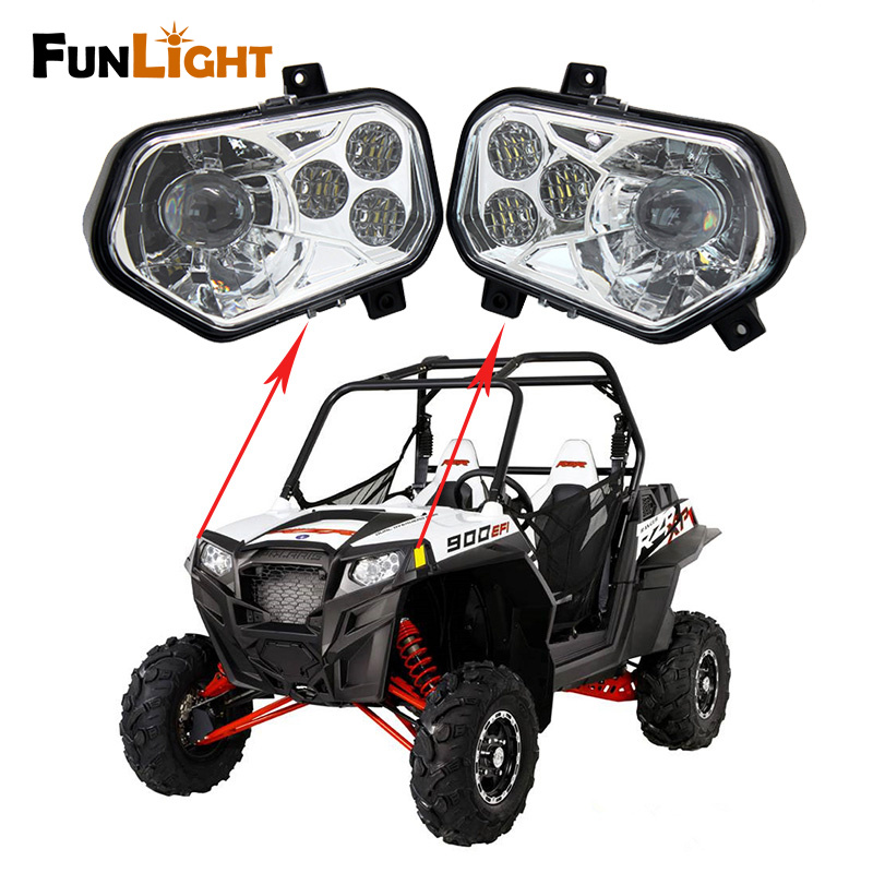Free Shipping POLARIS RZR Left / Right High Low Led Headlight Headlamp For POLARIS RZR 570 S 4 800 XP 900