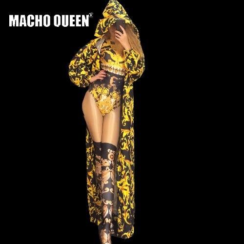Goed Drag Queen Kostuums Barokke Print Bodysuit Jumpsuit Celebrity Kap Cape Red Carpet Runway Prestaties Party Celebrity Kleding Goed Verkopen Over De Hele Wereld