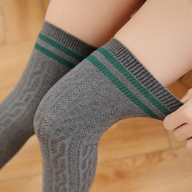 Cotton Thigh High Over The Knee Stocking 6