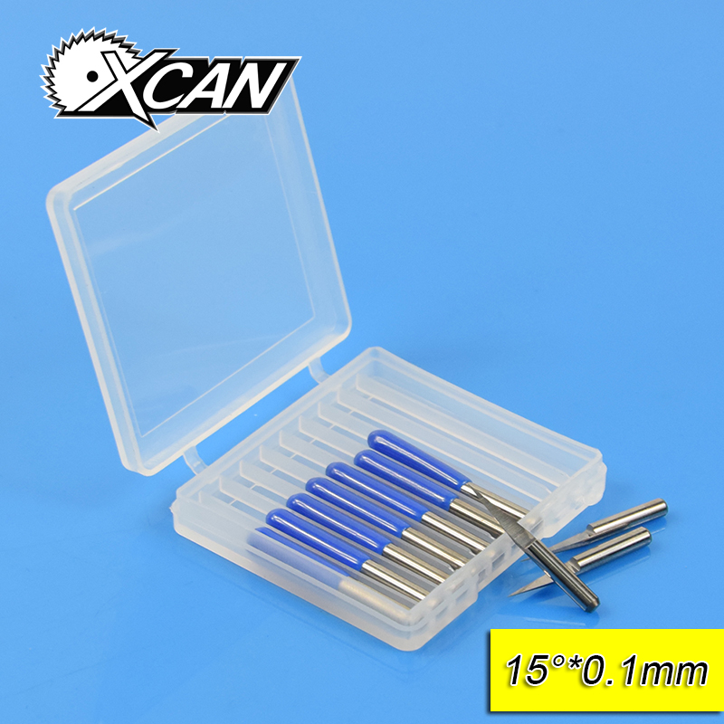 XCAN 10Pcs 3.175mm Tungsten Steel V Shape Carbide PCB Engraving Bits CNC Router Tool 15 Degree 0.1mm Machine Accessories hot sale tungsten steel 10pcs 3 175mm carbide pcb engraving bits cnc router tool 30 degree 0 1mm