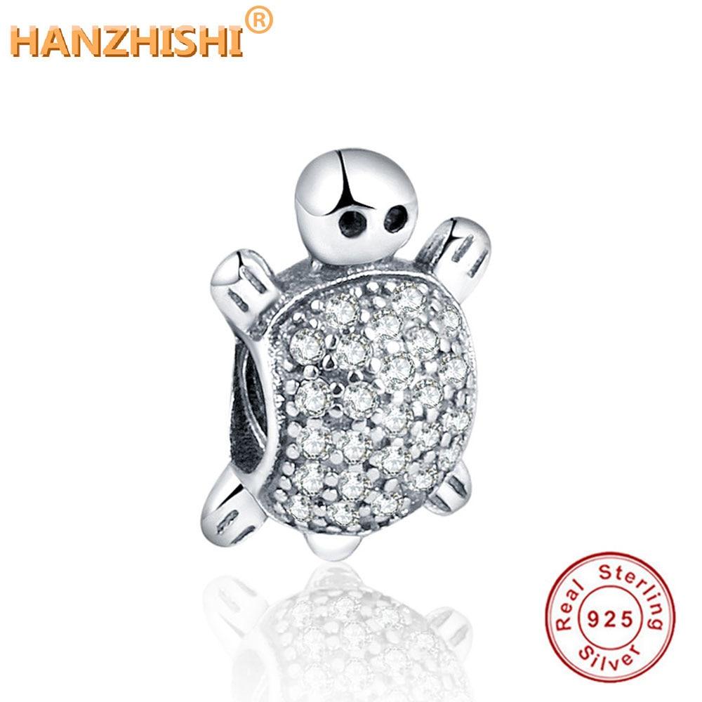 DIY illik a Pandora eredeti karkötő nyakláncjához, 2019. ősz Új érkezés 925 ezüst gyöngyök teknős ezüst báját tiszta CZ-vel