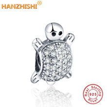 DIY Fits Pandora Original Bracelet Necklace 2019 Autumn New Arrival 925 Sterling Silver Beads Turtle Silver Charm with Clear CZ