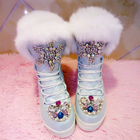 Handmade Snow Boots Colorful Rhinestones Decorations Rabbit Fur Leather Winter Boots Round Toe Platform Height Incresaing Boots