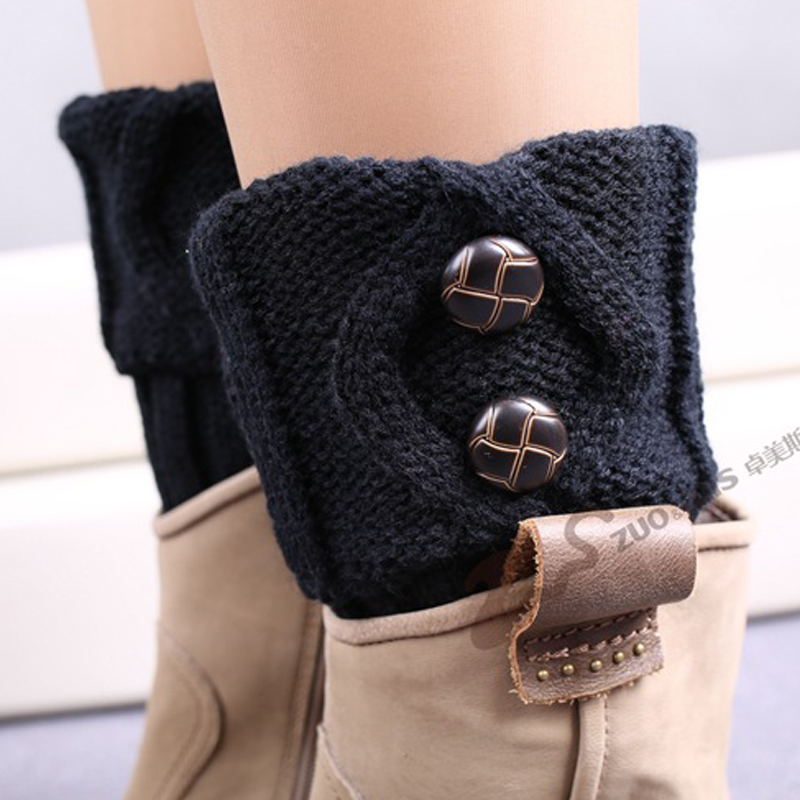 TOIVOTUKSIA Knit Boot Manset Tombol Crochet Boot Toppers Thermal Boot - Pakaian dalam - Foto 5