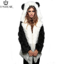 U-SWEAR Fashion Winter Women Faux Fox Fur Coat Hooded with Cat Ears Thick Warm Long Sleeve Black Fake Fur Coat Casaco Feminino(China)