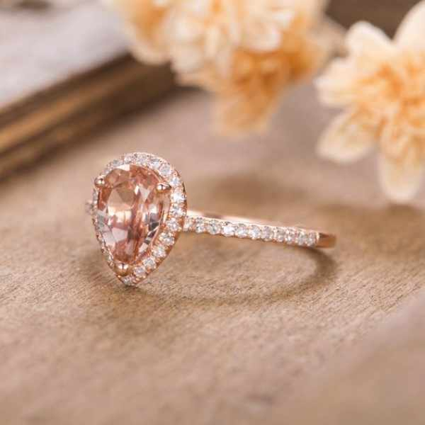 HUITAN Luxury Wedding Anniversary Ring with Pear Shape Huge CZ Prong Setting Rose Gold Color Fashion Engagement Rings for Women