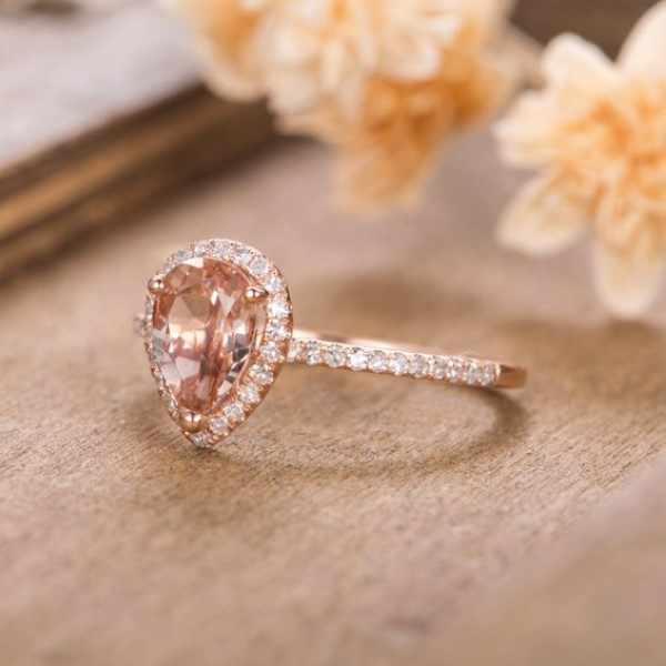 Huitan anel de aniversário de casamento de luxo com forma de pêra enorme cz prong configuração rosa cor de ouro moda anéis de noivado para mulher