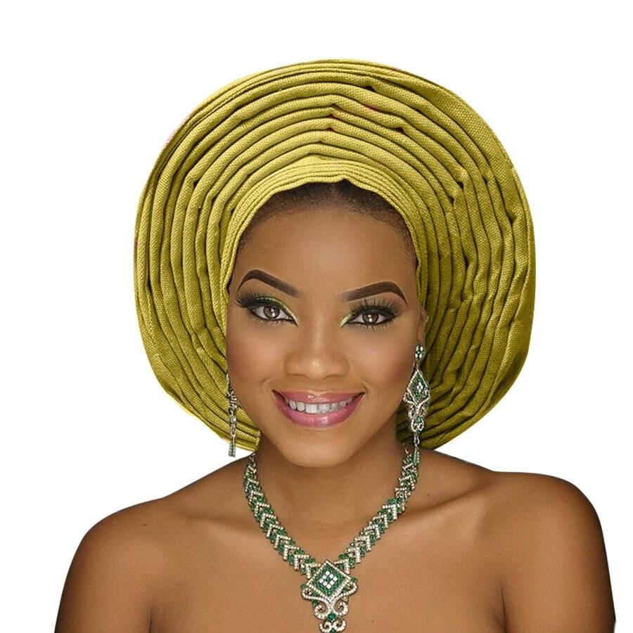 Traditional aso oke gele african headtie aso ebi head wrap for woman african turban headband already tied (14)
