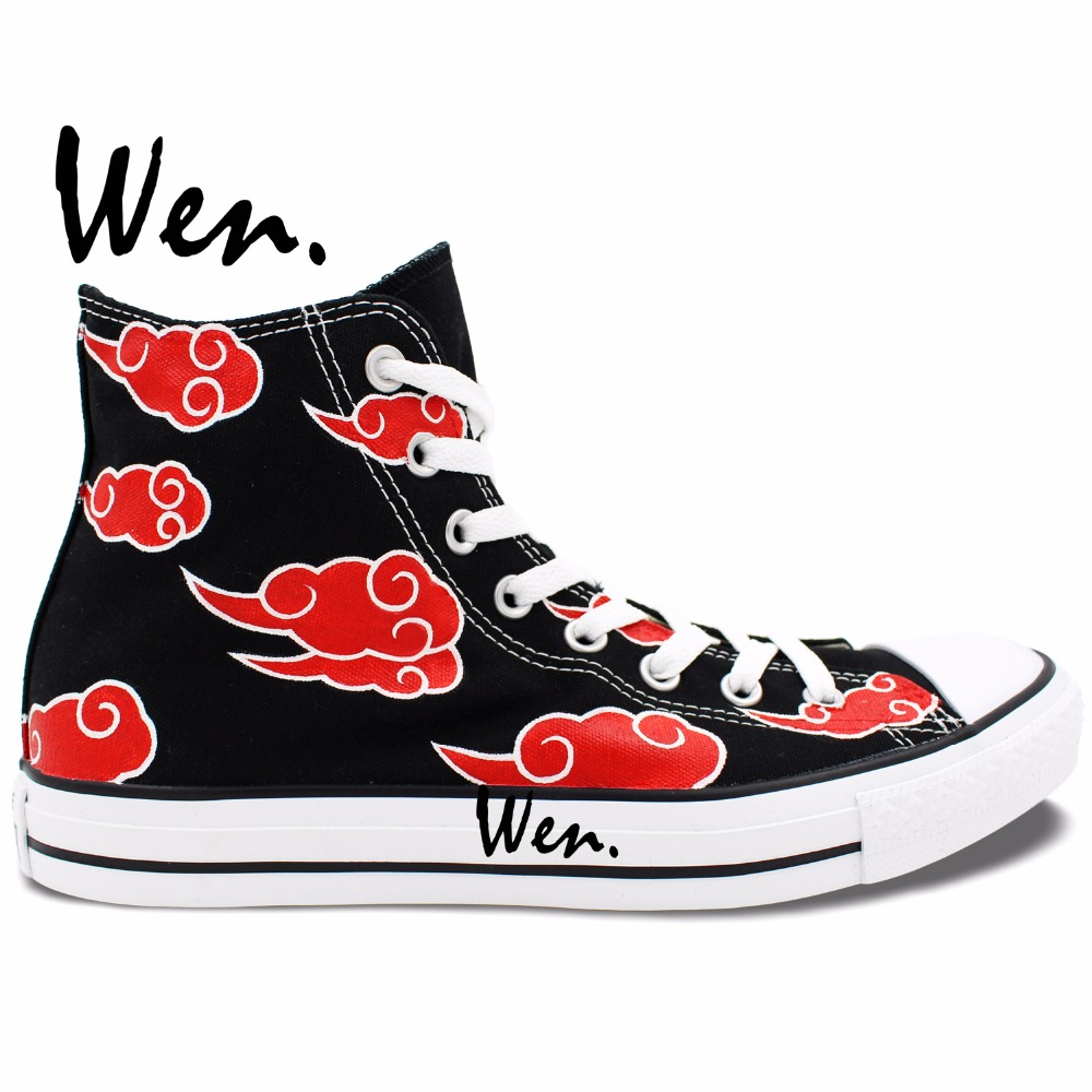 ФОТО Wen Anime Hand Painted Shoes Naruto Shippuuden Akatsuki Red Clouds Women Men High Top Black Canvas Sneakers