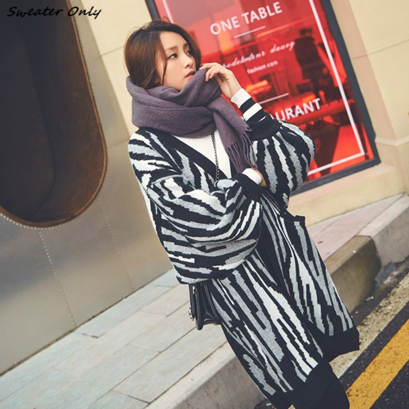 2016 new hot sale womens autumn winter lantern sleeve long section loose cardigans woman female casual zebra knit sweaters