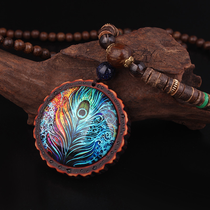 New design fashion peacock feather ethnic necklace,Nepal jewelry handmade sandalwood long sweater vintage jewelry necklace, hot handmade colourful resin ethnic style collier necklace