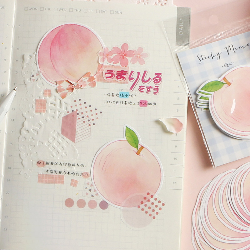 30Sheets Creative Apple Notepads Kawaii Peach Memo Pads Animals Sticky Notes For Kids Gifts School Office Supplies Stationery