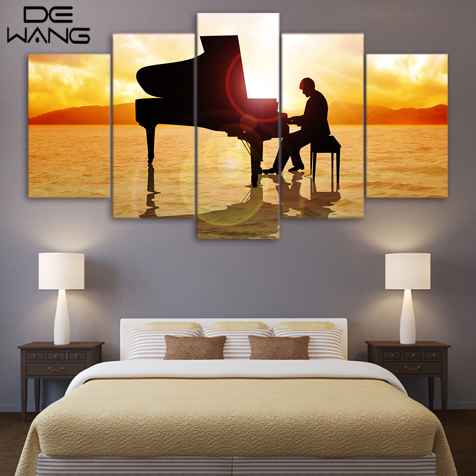 5 Painting Canvas Wall Art Music Play Piano Seascape Paintings Poster And Print Home Decor For Living Room Wall Art Picture