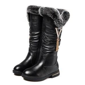 Image 5 - Детские сапоги; Сапоги из натуральной кожи для девочек; Зимние модные сапоги martin до колена; Бархатная теплая обувь принцессы с кроличьим мехом