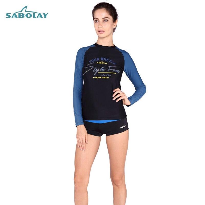 sabolay 2017 new swimwear women long sleeves maillot de bain femme deux pieces plus size