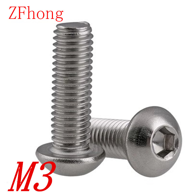 100pcs M3*4/5/6/8/10/12/14/16/18/20/22/25/28/30/35/40 iso7380  Stainless steel 304 hex socket button head screw 50pcs iso7380 m3 5 6 8 10 12 14 16 18 20 25 3mm stainless steel hexagon socket button head screw