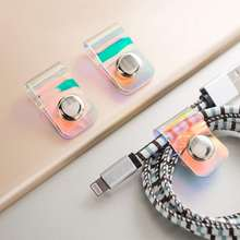 Earphone Cable Storage Buckle Universal Line Clip Winder PVC Laser Snap Button Stationery Organizer Portable Desk Storage(China)