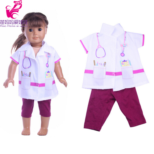 White Doctor suit set for zapf Baby Born Clothes Wear fit 18 inch american girl doll Children best Birthday Gift