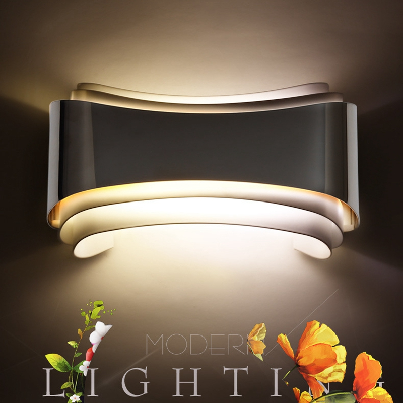 Modern Led Wall Lights For Bedroom Study Room Stainless Steel+Acrylic 5W Home Decoration Wall Lamp Hallway Free Shipping 2016 new modern fashion free shipping multi color acrylic sunflower led wall lamp for bedroom hallway corridor
