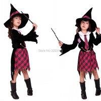 Kids Heks Magici Kostuum Amerikaanse film Cosplay Kostuum Mantel Cap Grils Heks Goochelaar Kostuum spel uniformen Halloween Kostuums