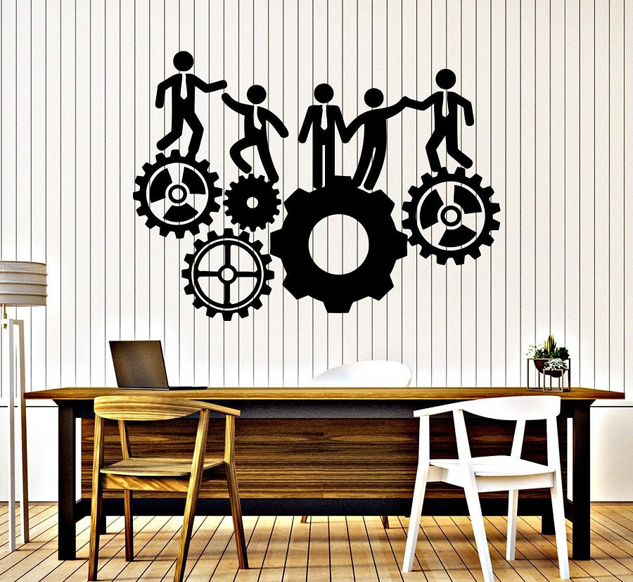 Vinyl Wall Decal Office Team Work Gear Inspiration Sticker Workstation Inspirational Gift Home Commercial Decor 2BG13-in Wall Stickers from Home & Garden
