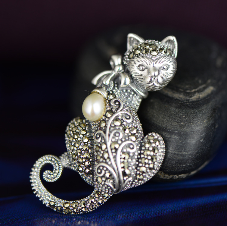 S925 Sterling Silver Marcasite pearl pendant pendant inlaid silver brooch and cat animal craftsmanship s925 sterling silver inlaid natural stone thai silver beautiful burning blue brooch female pendant new products
