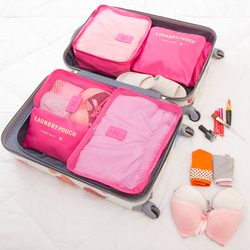 6pcs/set Fashion Double Zipper Waterproof Polyester  Women Luggage Travel Bags Packing Cubes Organizer Men clother Storage Bags