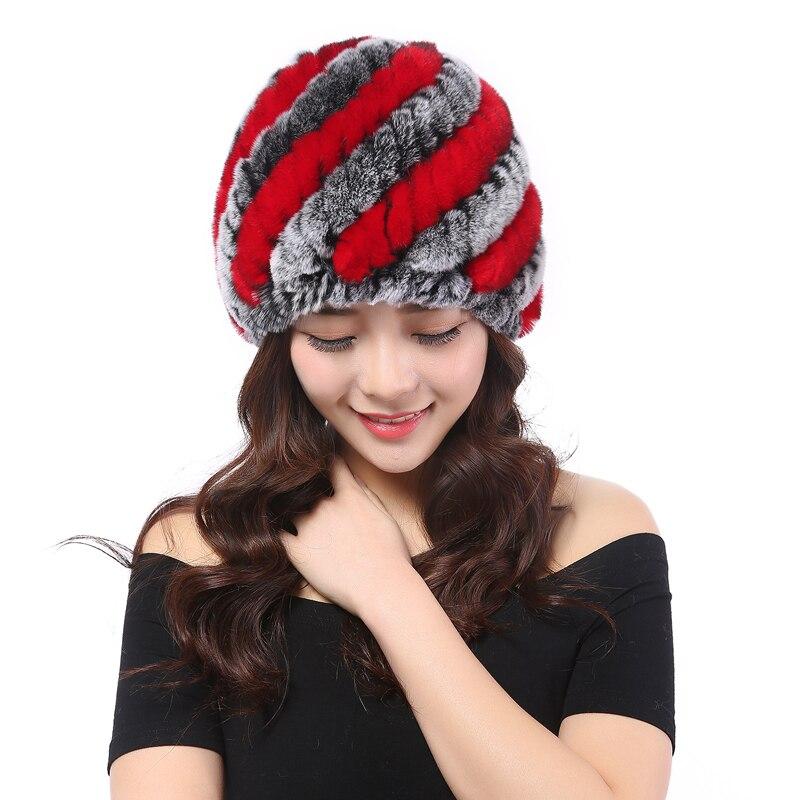 YWMQFUR winter fur hat Rabbit Fur Women Warm fashion Lady Beanie Hat Handmade knitted hat headwear gorro Caps girls fur cap H02