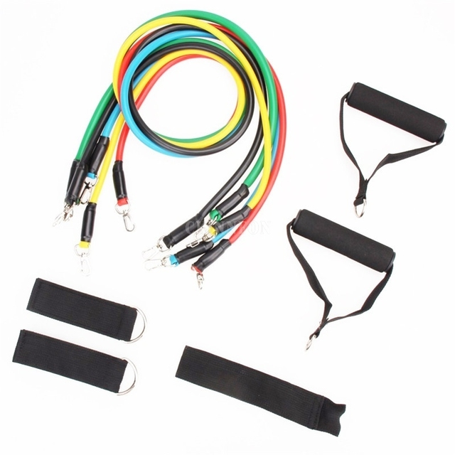 DHL 50Sets 11PCS Set Latex Tubing Expanders Exercise Tubes Strength Resistance Bands Pull Rope Pilates Fitness
