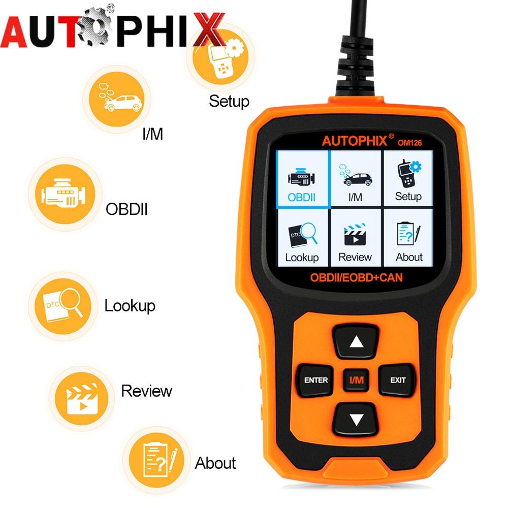 Prix pour Date autophix om126 obd2 scanner De Diagnostic code lecteurs outil d'analyse obd2 lecteur de code PK vs890 al519 autos scanner elm327