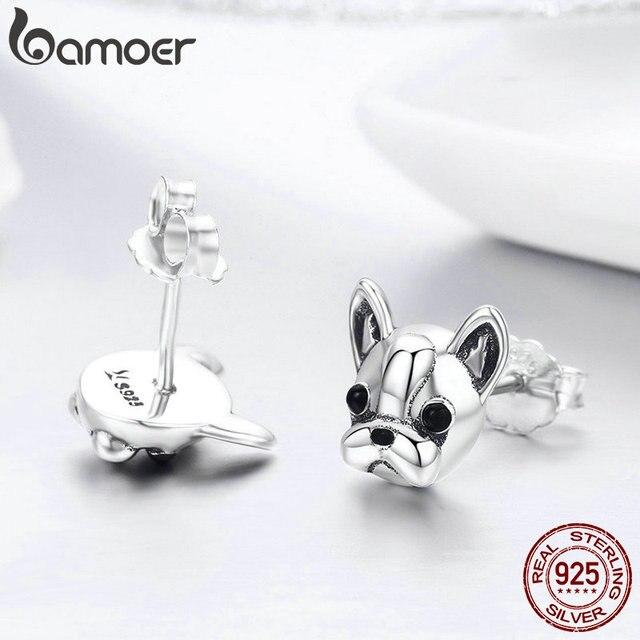 BAMOER 100% 925 Sterling Silver Partner Fedele Francese Bulldog Cane Animale Piccolo Orecchini con perno per Le Donne Oorbellen Gioielli SCE283