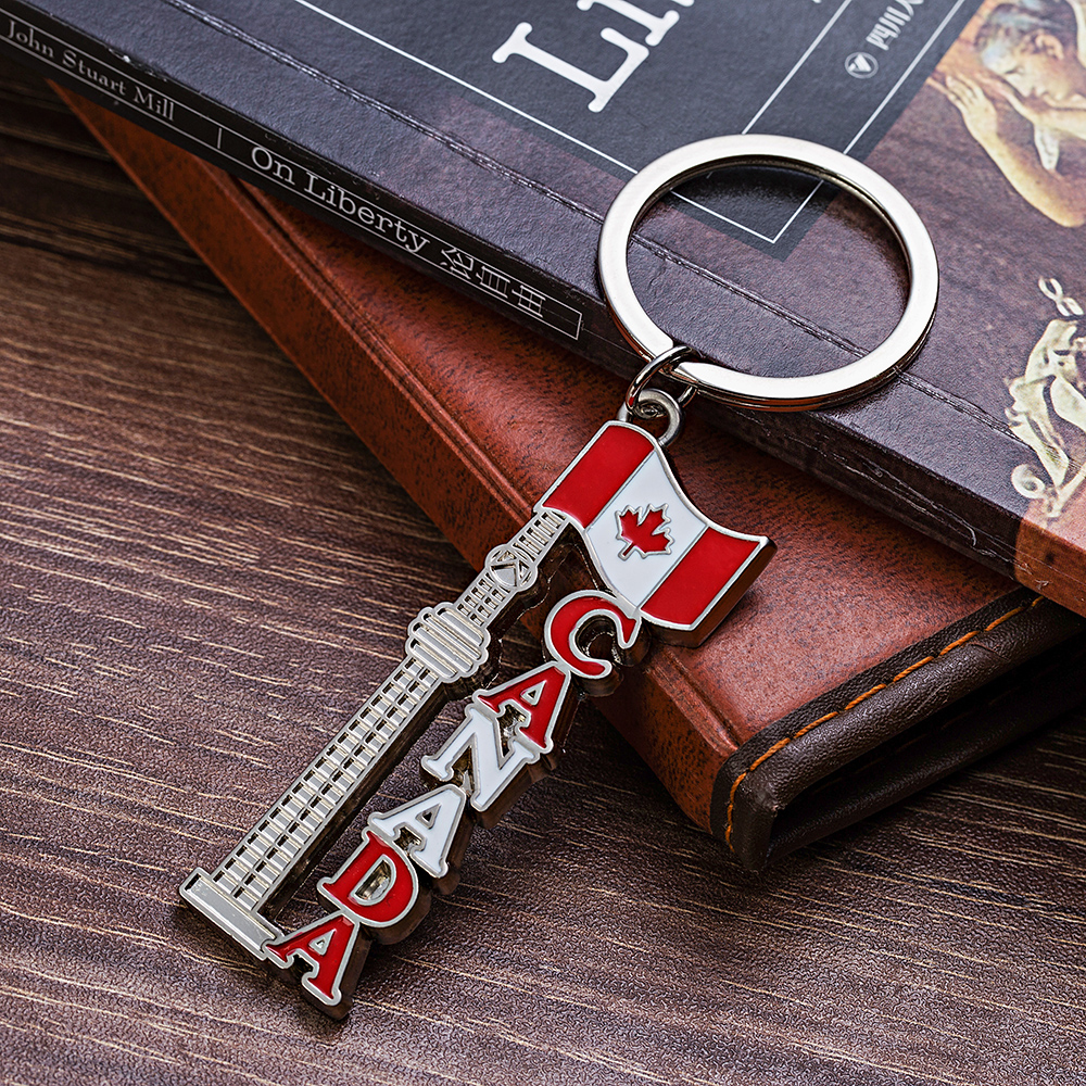 Vicney Newest Canada CN Tower Keychain Canada Tourist Souvenir Key Chain Toronto CN Tower With Flag Keyring Building Keychain