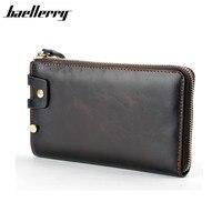 Baellerry Luxury Brand Men Wallets Purse Business Long Genuine Leather Wallet Men Clutch Dollar Price Wristlet
