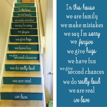 ROWNOCEAN English Proverbs Stair Family Rules Quote Decal We Are In This House Vinyl Art Home Decoration DIY Z207