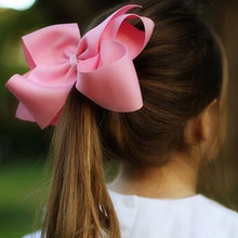 6 Inch 2 pcs/lot Girls' Grosgrain Ribbon Hair Bows with Clips Kids' Hairbows Solid Bow Children Hairclips Handmade Large Hairbow